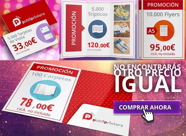 Ofertas de impresión en flyers, trípticos, tarjetas de visita y carpetas de presentación.